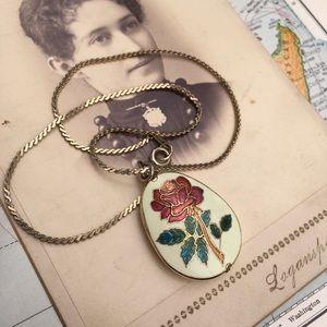Vintage Jewelry - Vintage Cloisonné Rose Pendant Necklace